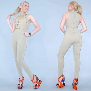 Tan Khaki Gold Studded Pant Jumpsuit